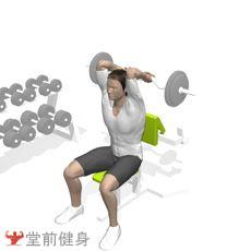 坐姿杠铃屈臂伸(靠椅)