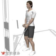 低位拉力器臂弯举(拉绳)